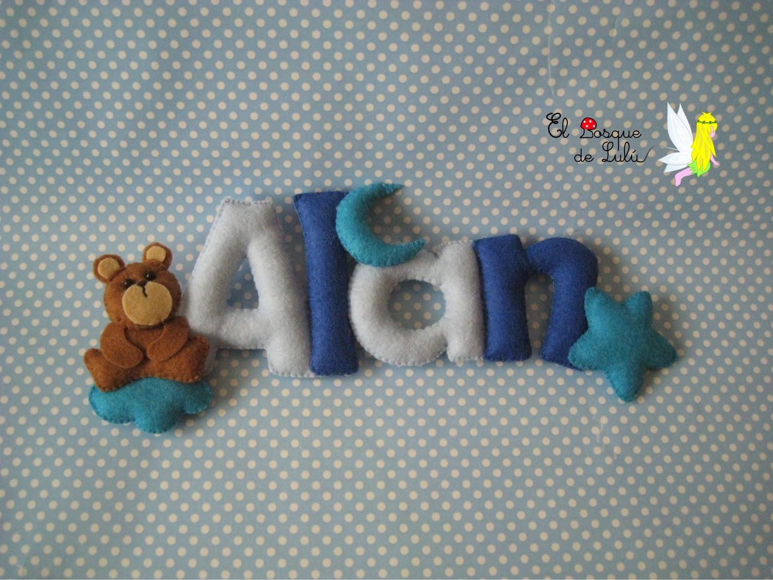 nombre-decorativo-fieltro-Alan-decoración-infantil