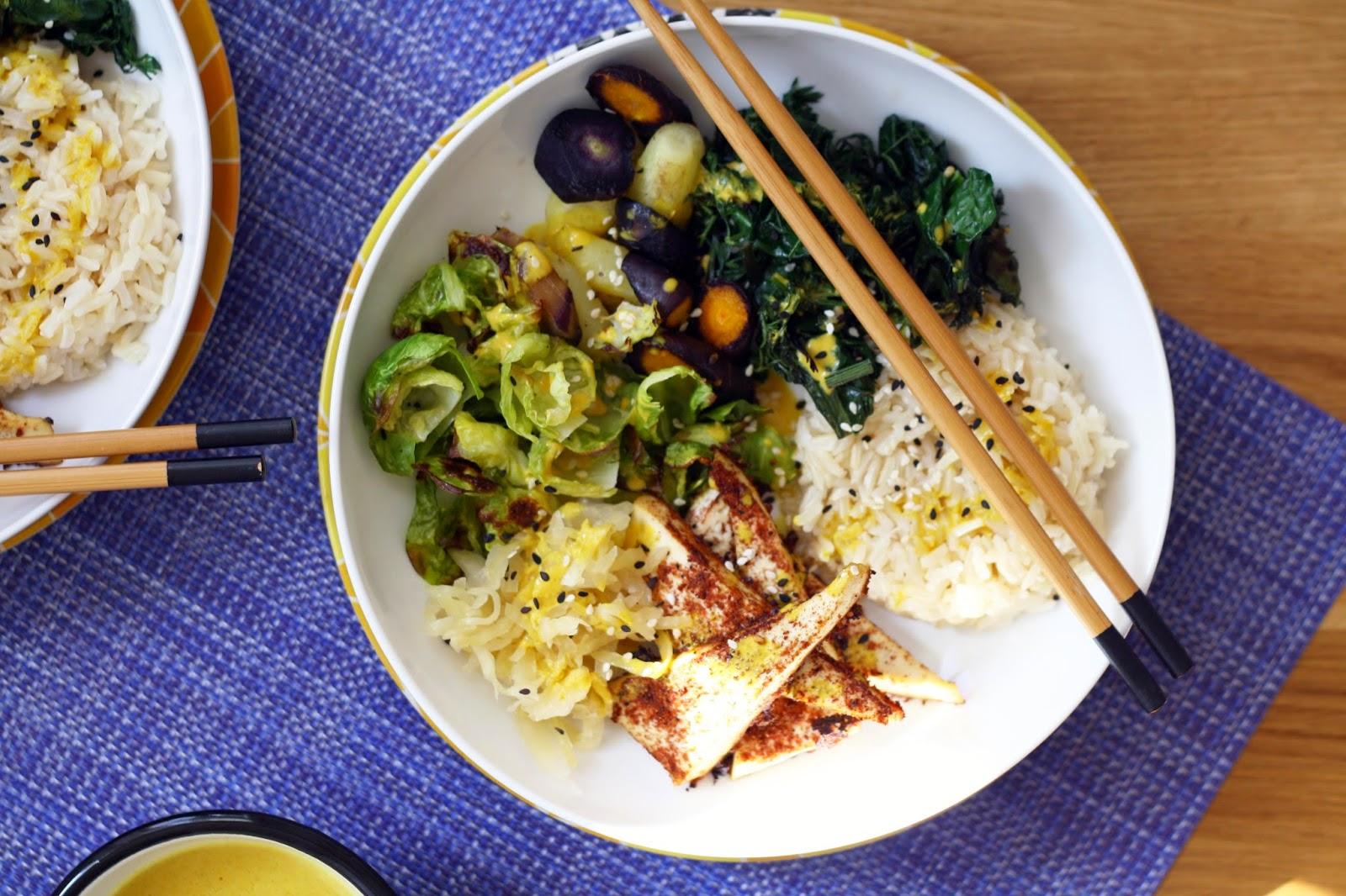 jerk tofu smorgas-bowls with a tumeric tahini dressing // sevengrams