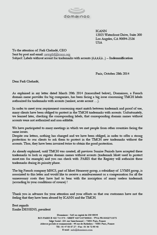 Domainoo Letter to ICANN re TMCH, trademarks