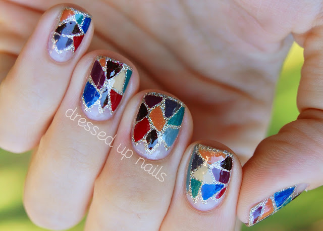 China Glaze On Safari fall mosaic nail art