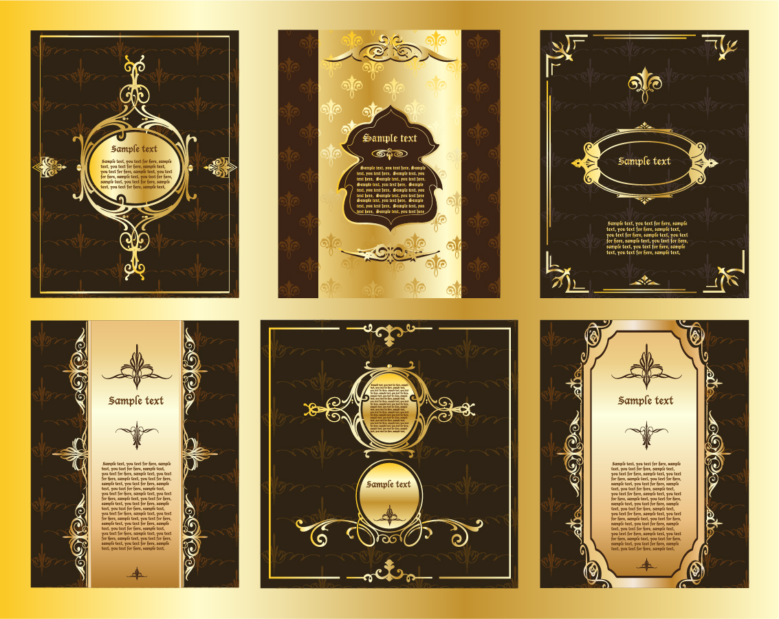 金色の豪華なレイアウト見本 european gorgeous layout design イラスト素材4
