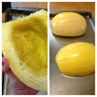 cooking the spaghetti squash