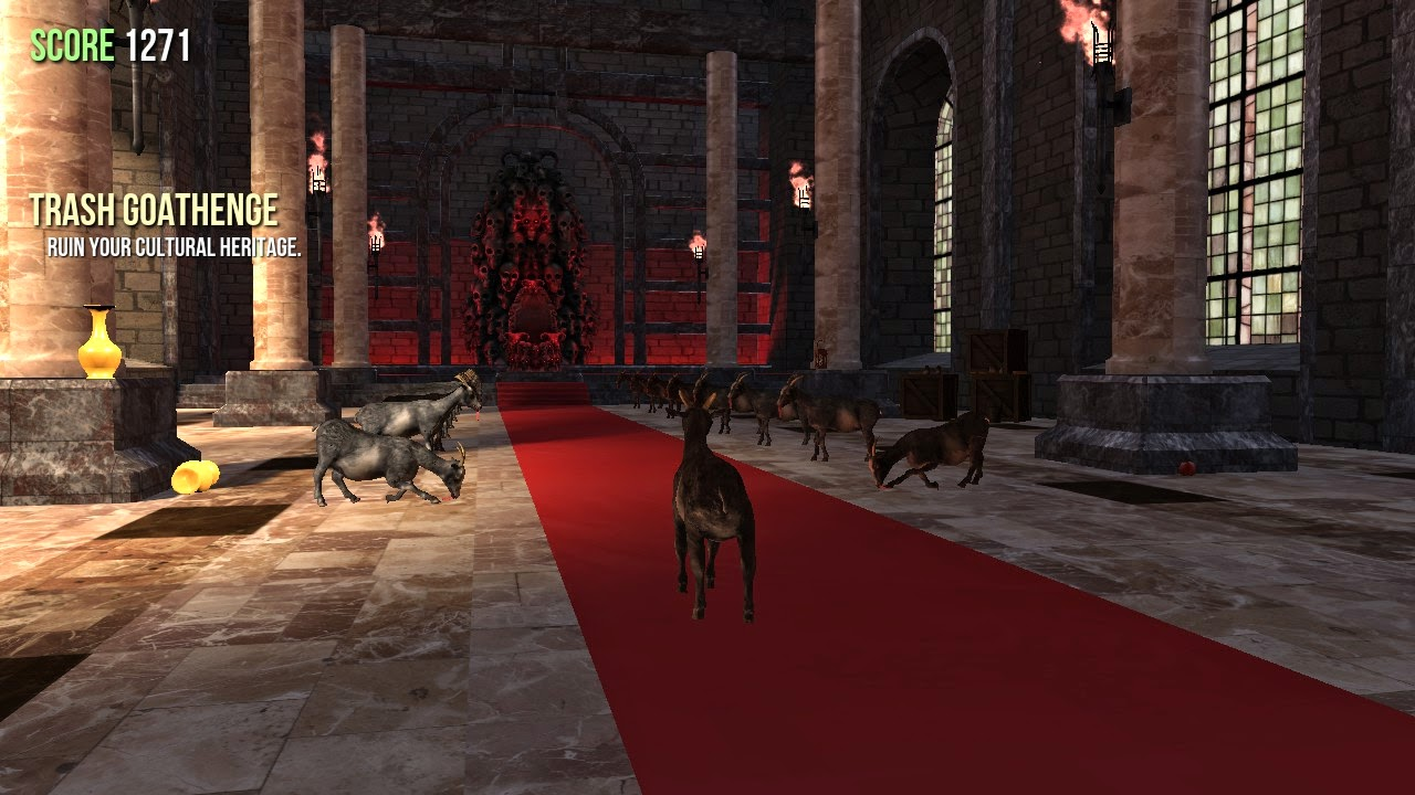 goat simulator screenshot castle bowing