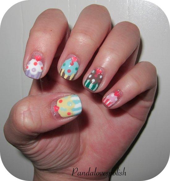 panda loves polish cupcake nails
