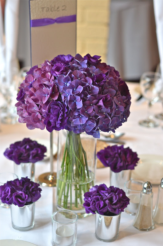 Purple Hydrangea Wedding Centerpiece : Wedding flowers emma s contemporary purple