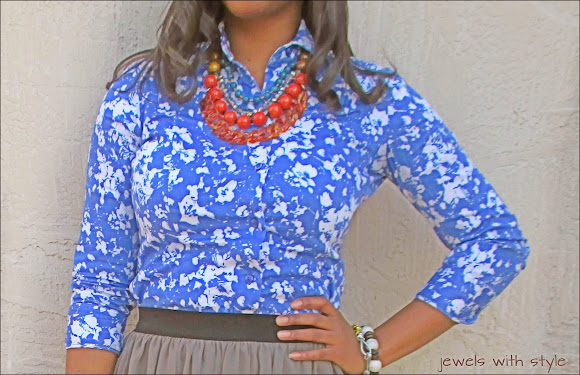 flower print shirt, button up shirt, dressing down a button up shirt, blue button up shirt, button down shirt, jewels with style, black fashion blogger, m renee design