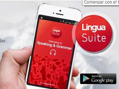 foto de una mano que sostiene un móvil con la App de LinguaSuite: Speaking & Grammar