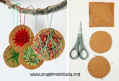 Passo a passo de bolas de papelão para Árvore de natal