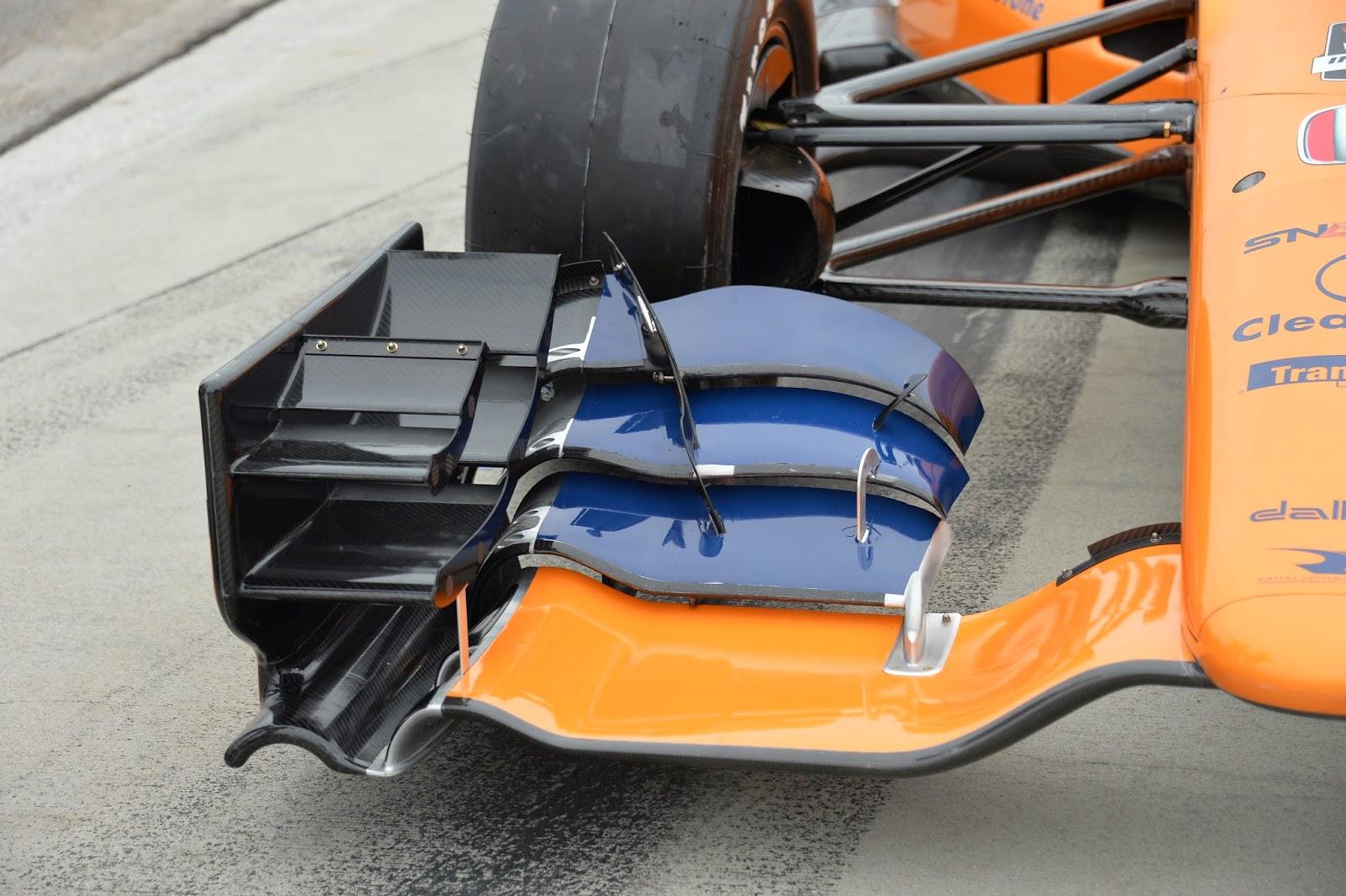 Front wing of Graham Rahal's Honda.