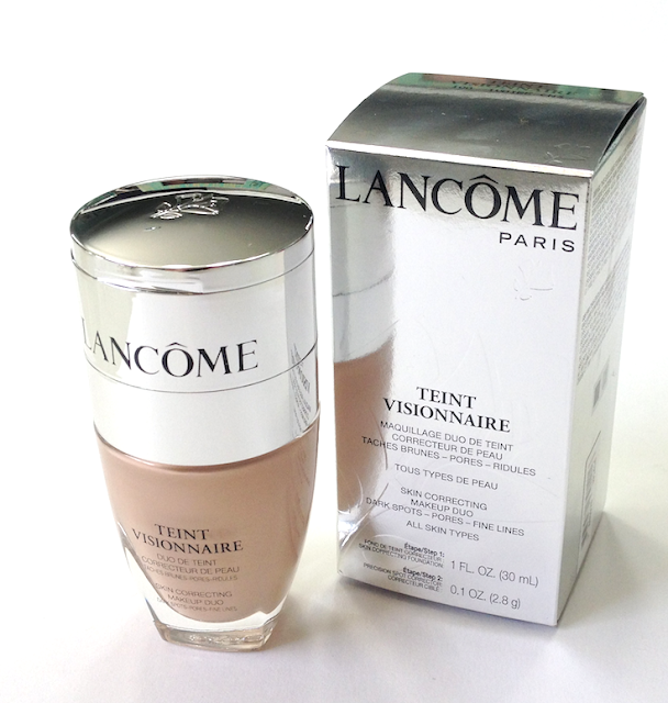 Lancome Teint Visionnaire foundation Skin Correcting Makeup Duo  #100 Ivoire Review and Swatches