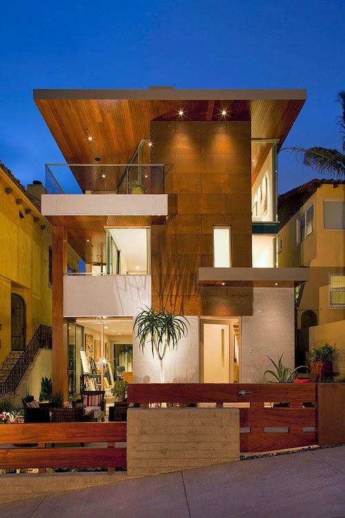 Fasad Rumah Minimalis Lantai 2 Perpaduan Texture Kayu