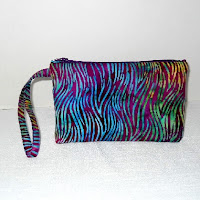 Blues Stained Glass Waves Wristlet  by MeeMaws