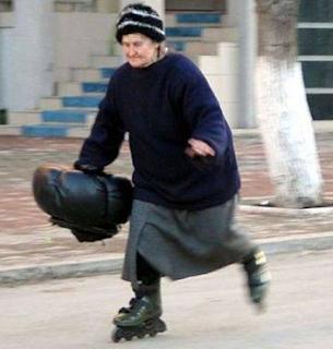 funny picture: grandma on roller skates