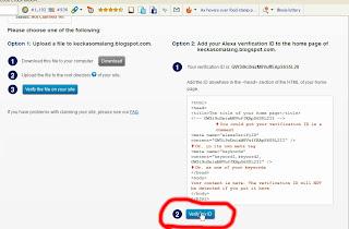 Klik Verivy ID pada Situs Alexa