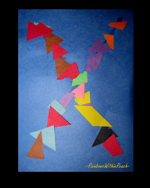 photo of: Letter X children's art project, shapes, colors, preschool, young children, kindergarten