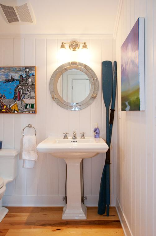 Delorme designs nautical bathrooms for Beach cottage bathroom ideas