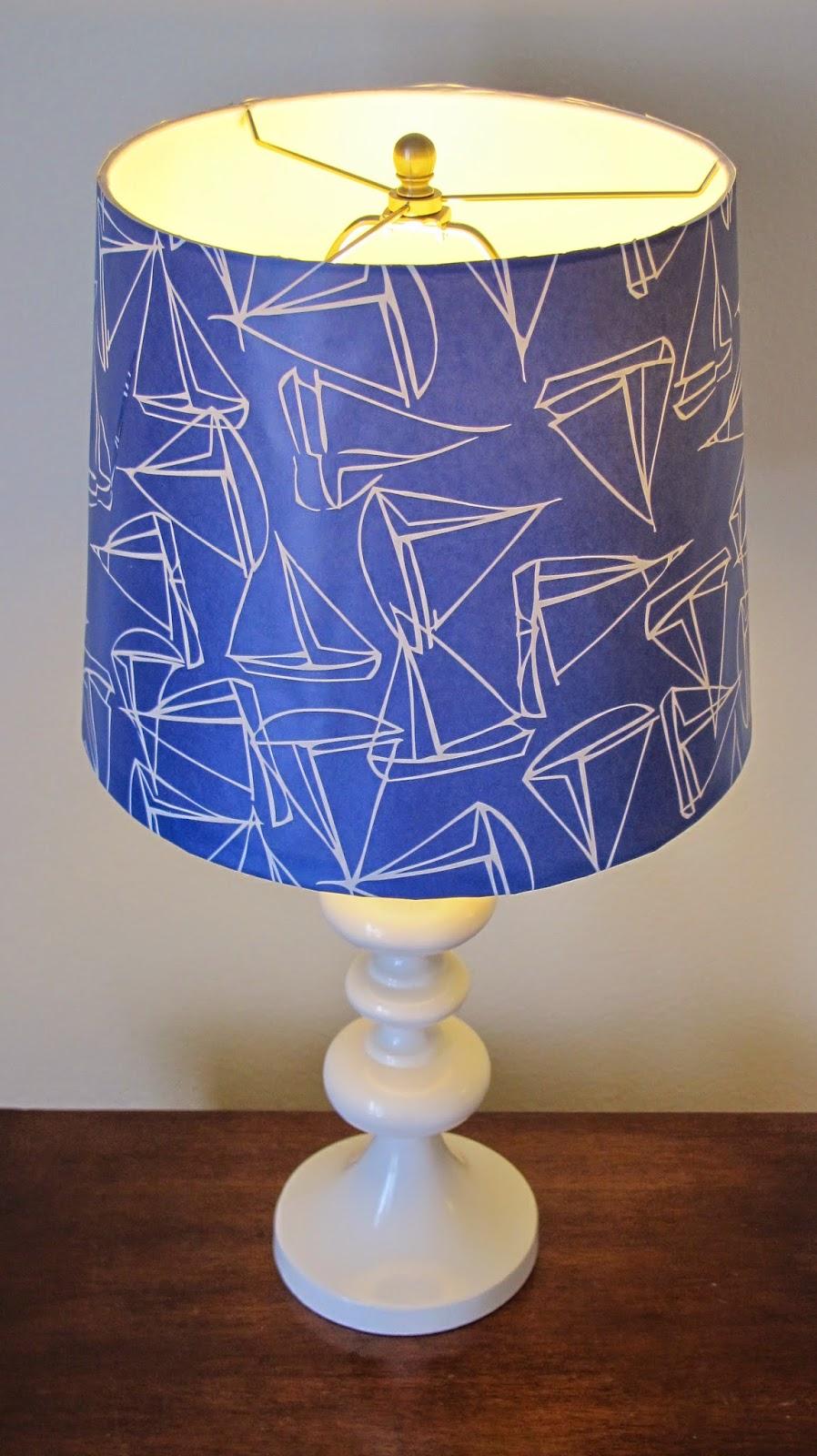 Wallpaper Lamp Shades : Nautical by Nature: My Apartment: DIY Nautical Wallpaper Lamp Shade Project