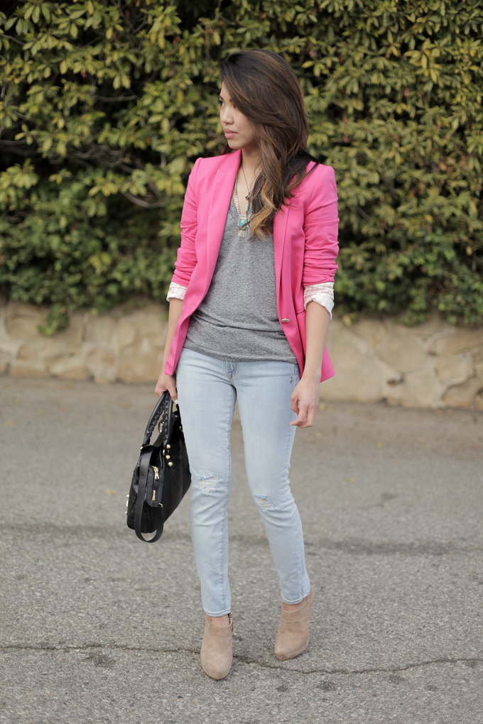 Zara pink blazer, Genetic Denim The Brooke, beautybitten