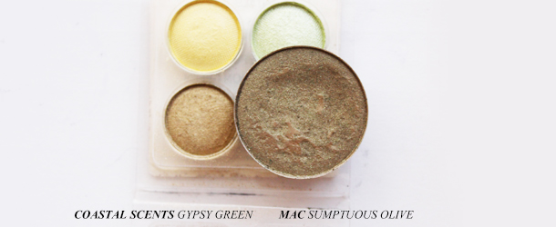 mac sumptuous olive eyeshadow dupe swatch comparison coastal scents gypsy green
