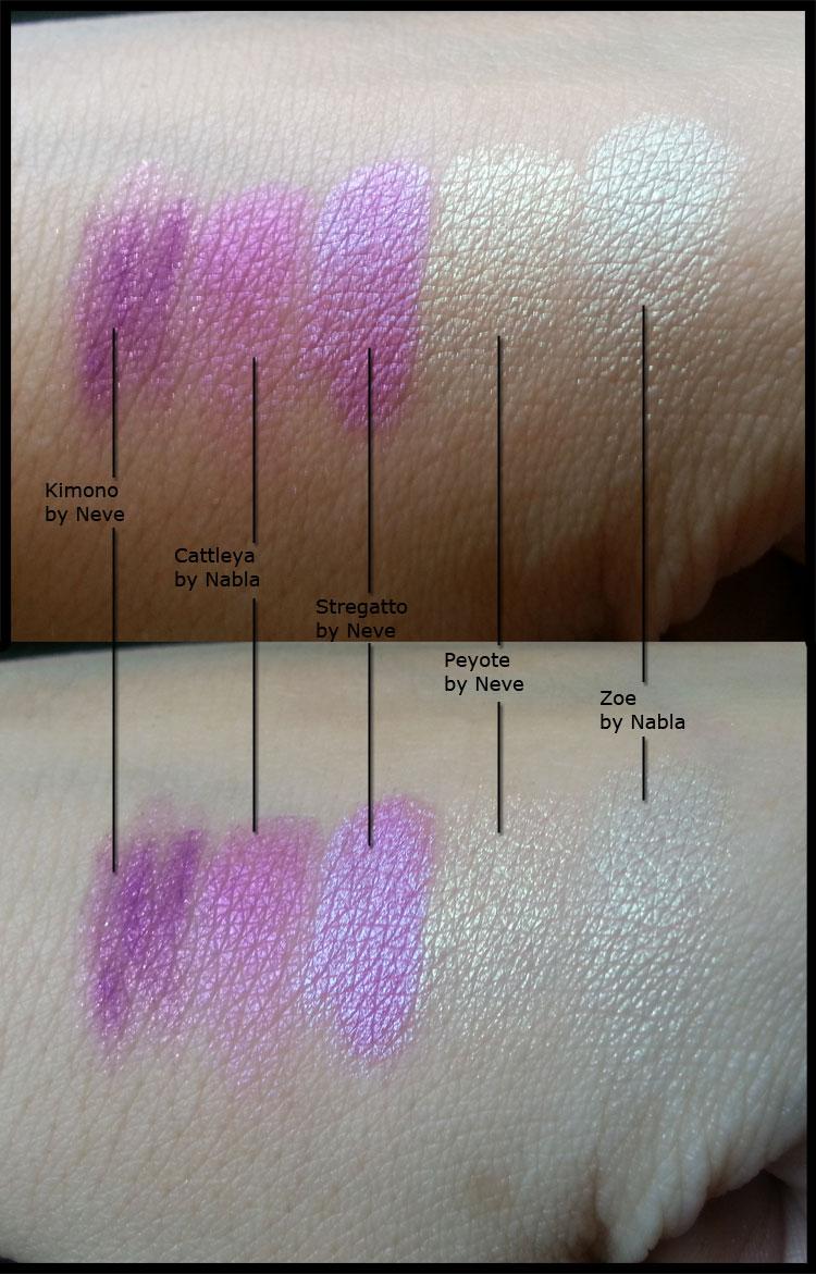 Nabla Cosmetics - Solaris Cattleya e Zoe - Neve Cosmetics - Kimono, Stregatto e Peyote - Comparazione
