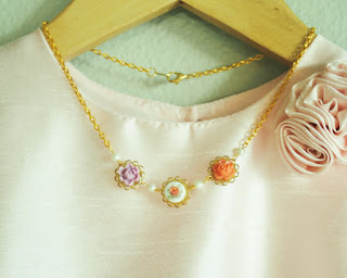 Vintage Rose Garden Girls Necklace by BusyBeezChickadeez