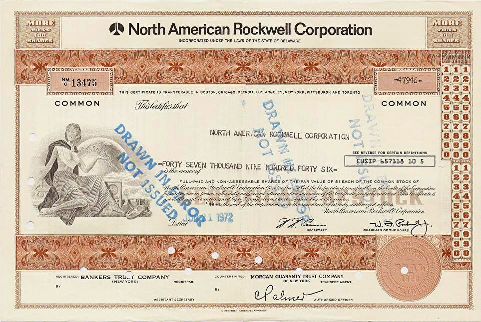 facsimilé signature of W. F. Rockwell Jr on stock certificate