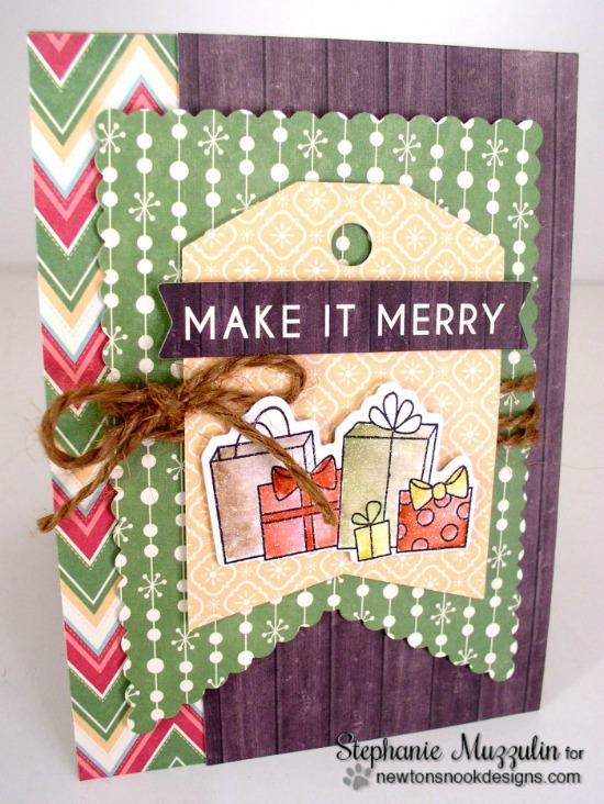 Make it Merry Card by Stephanie Muzzulin | Newton's Christmas Cuddles Stamp set by Newton's Nook Designs #christmascard