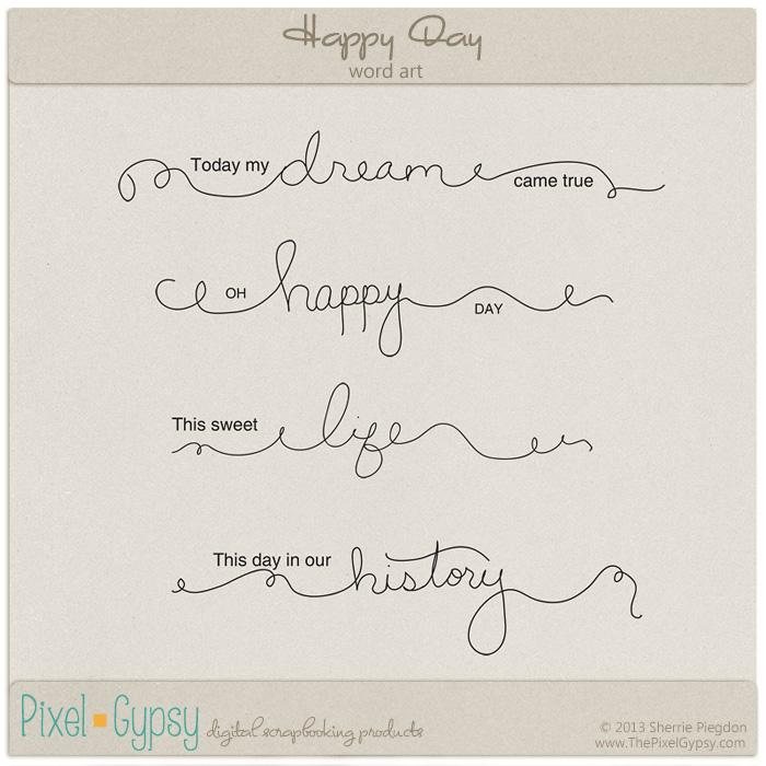 Happy Day Digital Scrapbooking Word Art