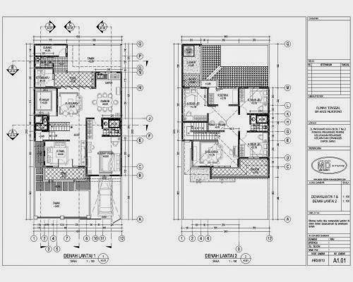 desain rencana denah rumah 2 lantai