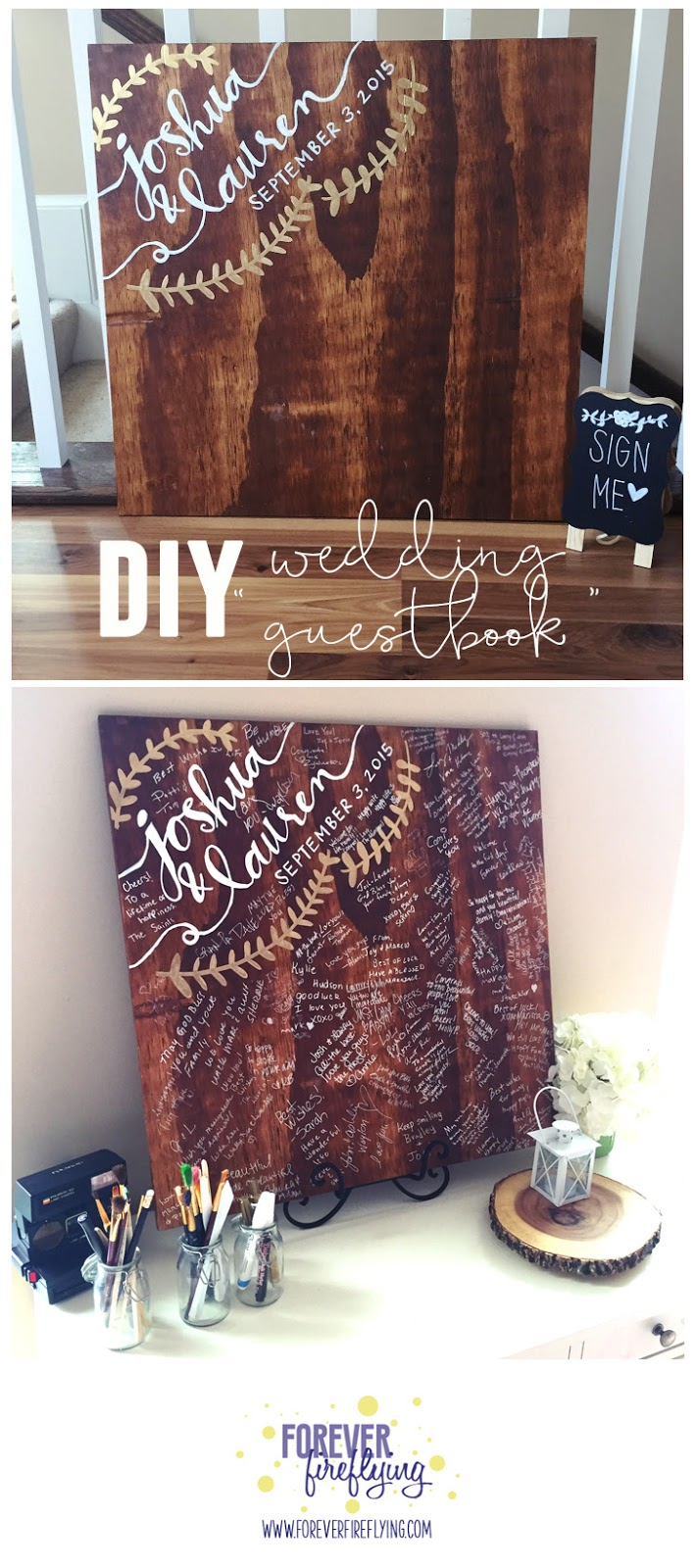 "Forever Fireflying: Wedding: DIY wood ""guestbook"""