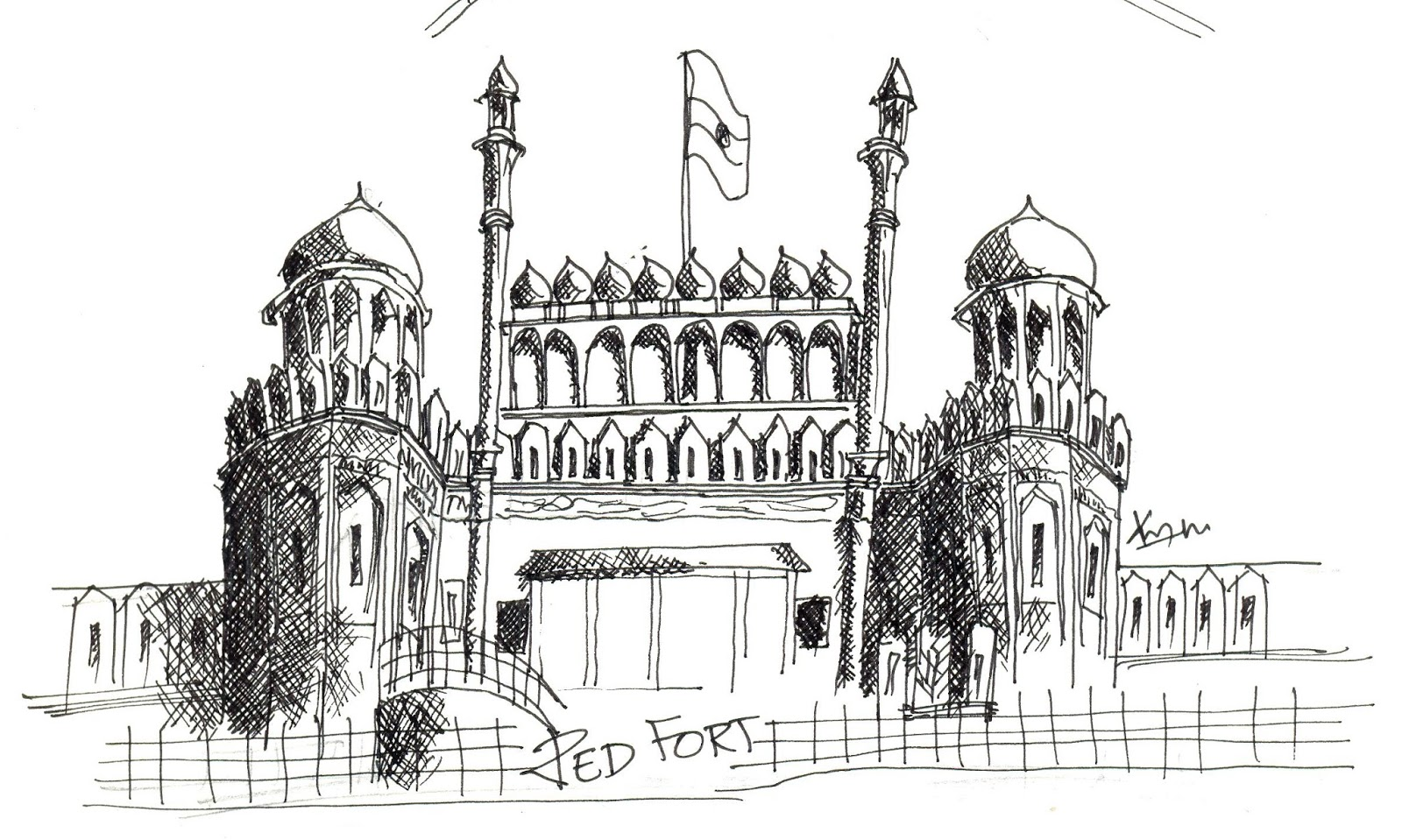 Line Drawing Of Qutub Minar : Red fort drawing sketch coloring page