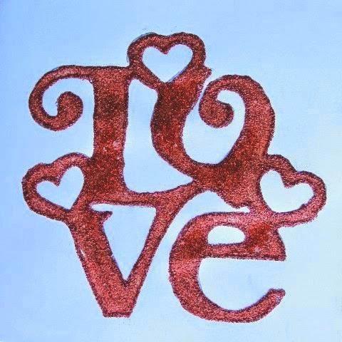 palabra LOVE para tarjeta San Valentín scrapbooking