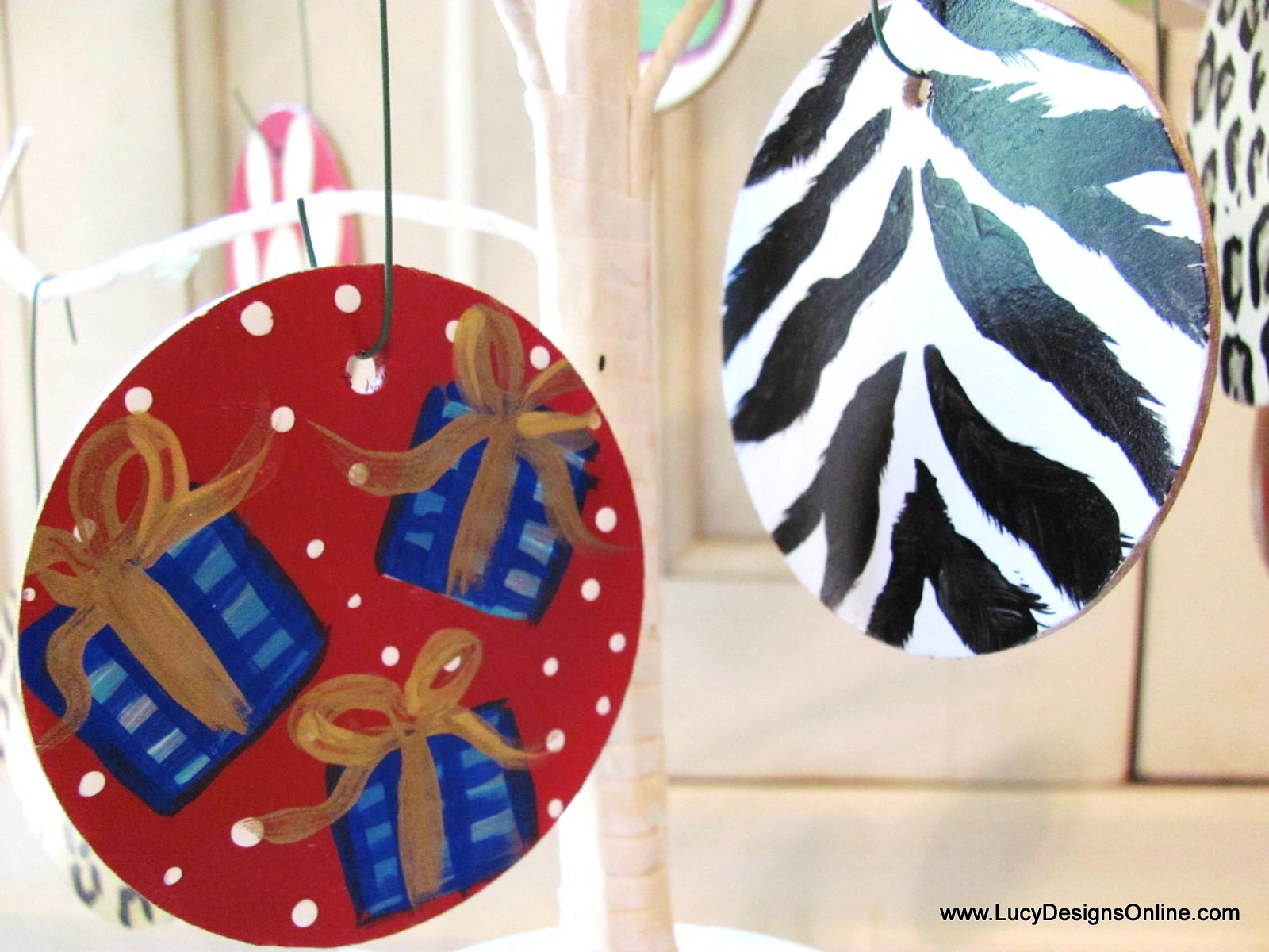 Hand Painted Wooden Christmas Ornaments For Pet Shop With Paw Prints,  Animal Print, Dots And Stripes