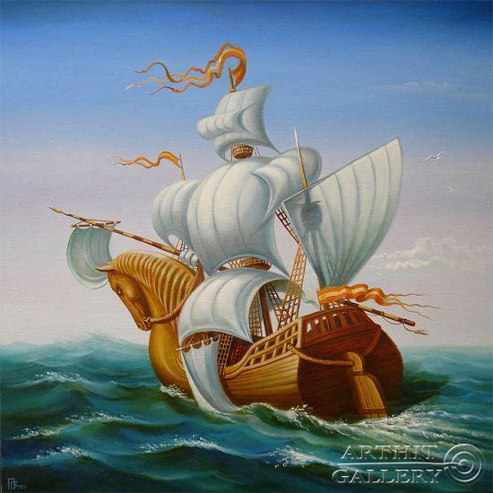 Gennady Privedentsev pinturas arte surreal Navegador conquistador