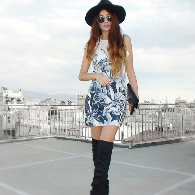 mini dress over the knee boots