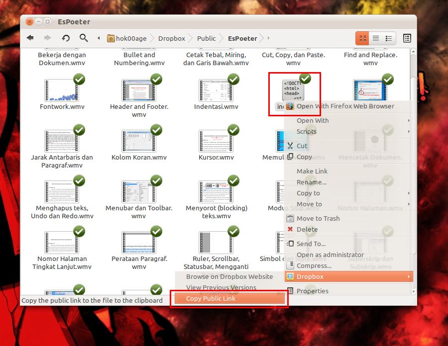 File 'index.html' yang memuat link semua file di folder