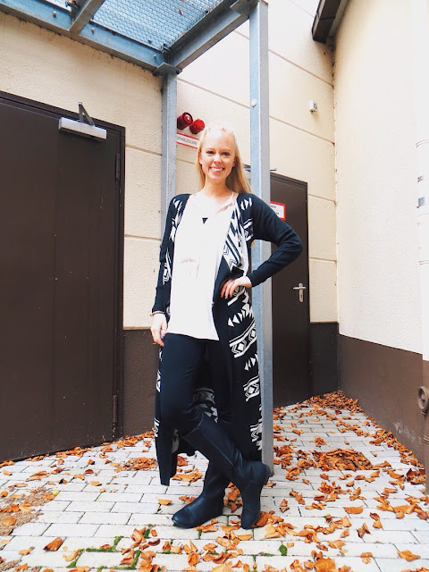 Limbo Jewelry Colab Chev necklace, Limbo Jewelry stud earrings, Deb long Aztec print sweater, Old Navy tall boots, fall outfit