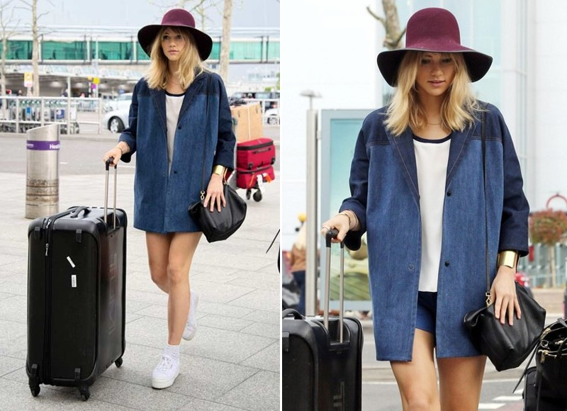 suki waterhouse airport outfit celebrity street style 2014