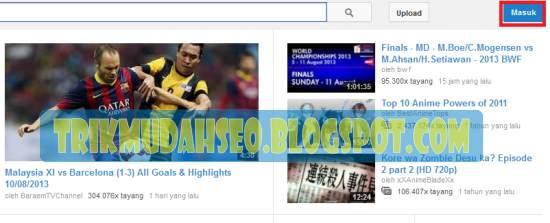Layar beranda youtube klik Masuk untuk Login