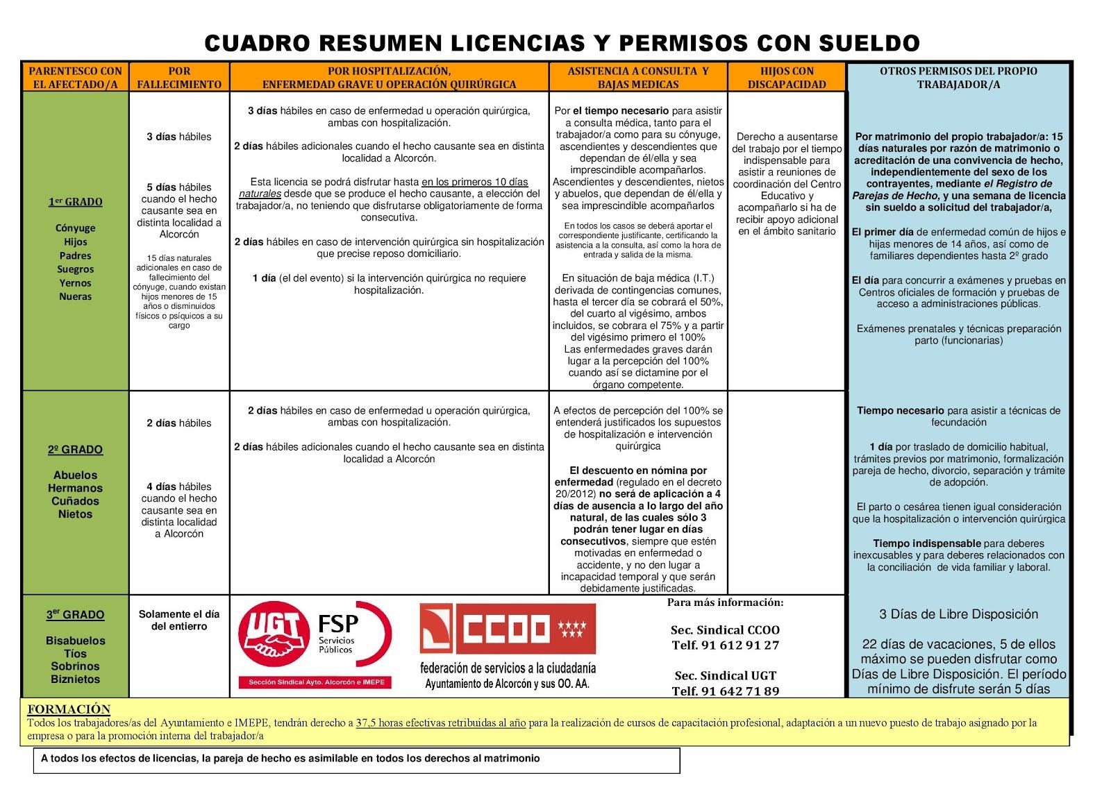 CUADRO DE LICENCIAS Y PERMISOS