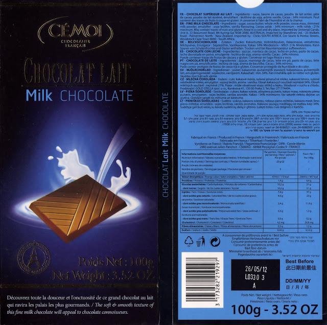 tablette de chocolat lait dégustation cémoi chocolat lait 34