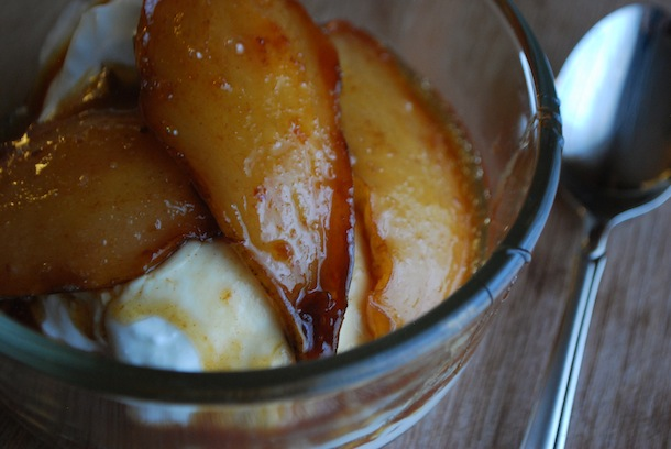 Roasted Pears with Maple Syrup Caramel - Always Order Dessert