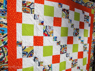Spring Mystery Quilt, front quilting detail