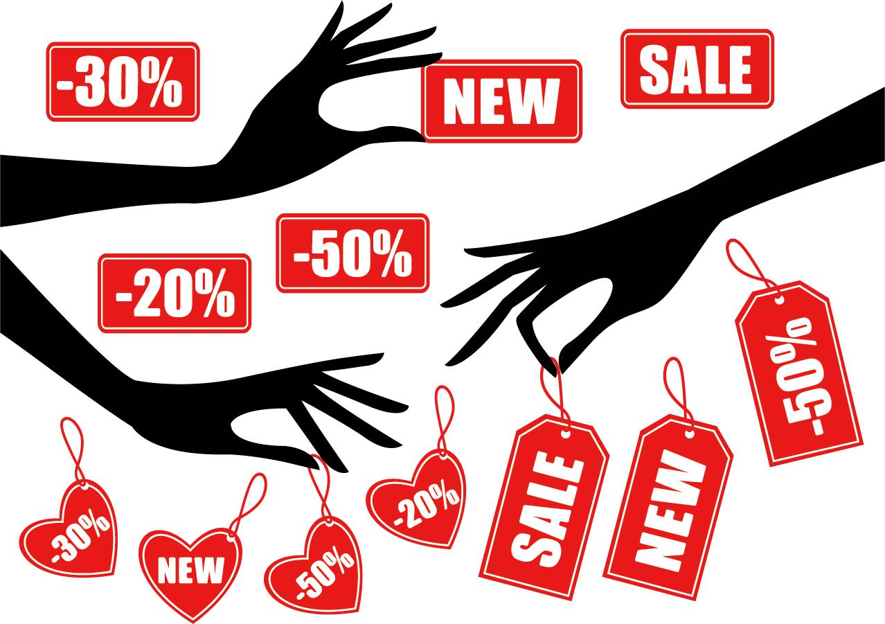 割引きタグを持つ手のシルエット hand silhouette sale tag イラスト素材2