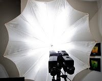 Light pattern of HFMB with Rigid Umbrella Riser Shooting into Umbrella
