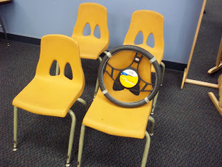 chairs and steering wheel for preschoolers (Brick by Brick)
