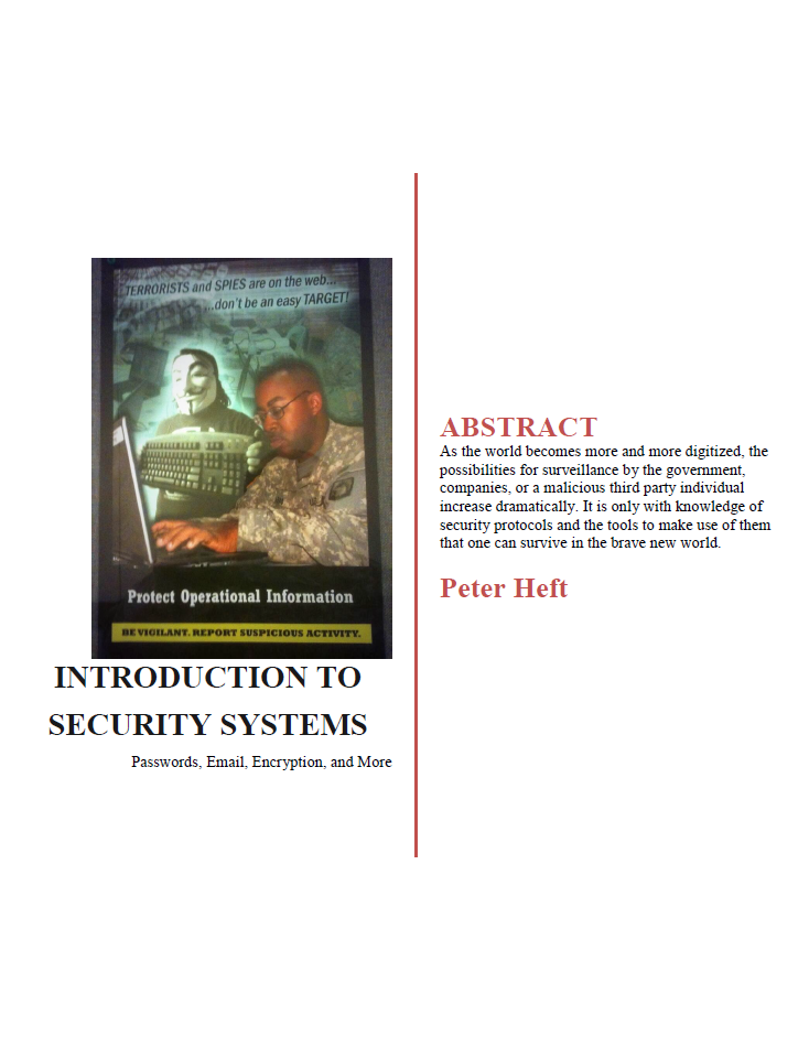Check out my essay on internet security: Introduction To Security Systems