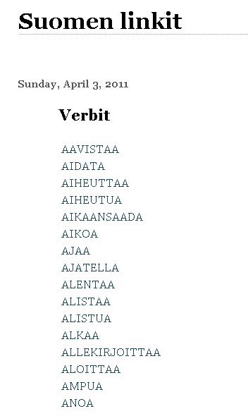 Tässä on mukava (653) lista verbejä 105c366a18