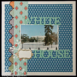 The White House in Snow - Scrapbook Page by Stampin' Up! Demonstrator Bekka Prideaux using the International Bizarre Papers by Stampin' Up!
