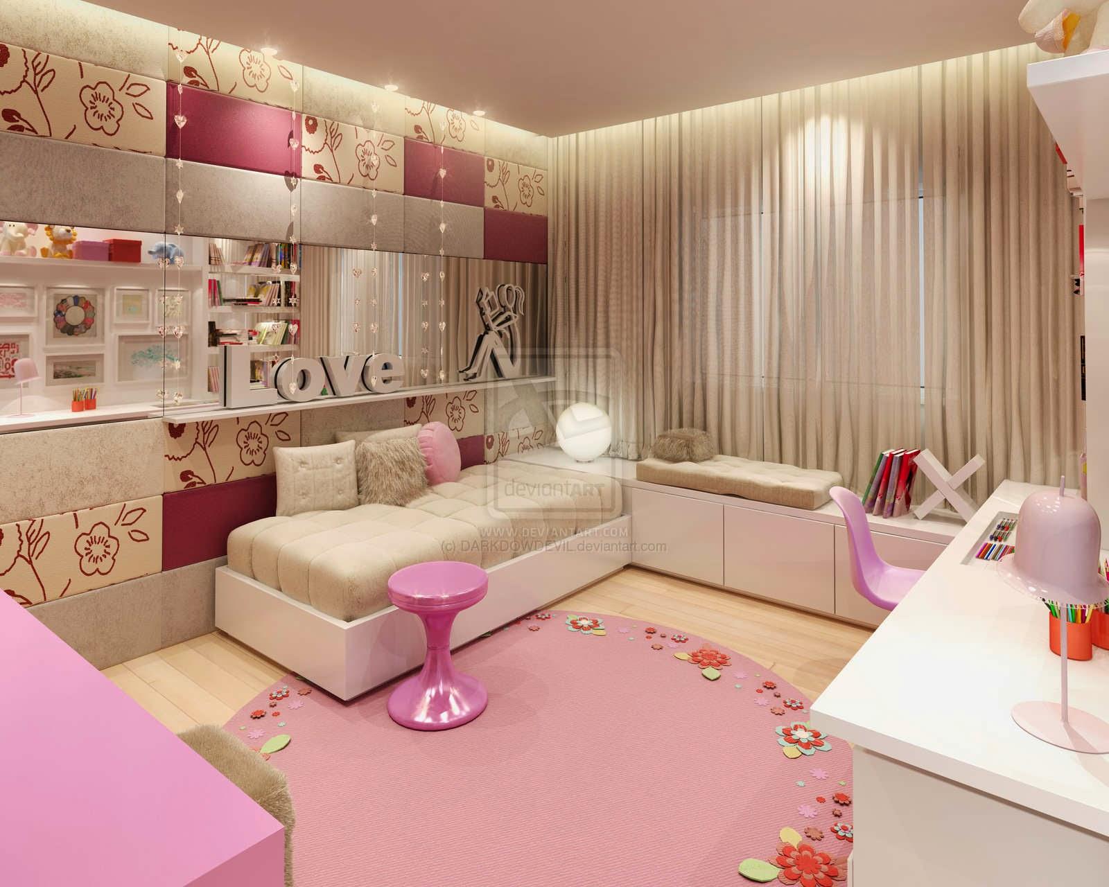 Desain Kamar Tidur untuk wanita warna cerah pink